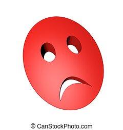 maska, czerwony, smutny