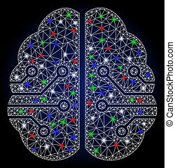maska, glödande, signalljus, elektronisk, 2, fläckar, hjärna