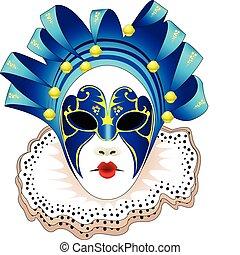 maska, ilustracja, wektor, karnawał