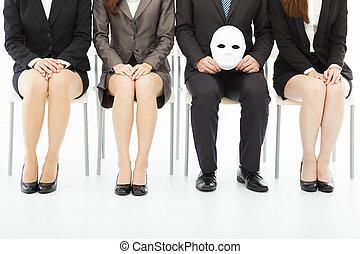 maska, ludzie, obcy, handlowy, akcydensowy interwiew, usługiwanie