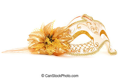 maska maskarady, złoty