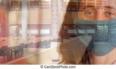 maska, opróżniać, kobieta twarz, przeciw, biblioteka