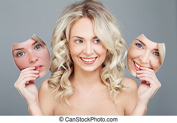 maska, przed, młoda kobieta, po, choice., skincare, pojęcie, uśmiechanie się, piękno, procedure., skóra
