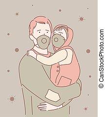 maske, baby, pandemisch, covid-19, tragen, schützend, ausbreitung, stadt, gesicht, coronavirus, mann, krankheit, straße