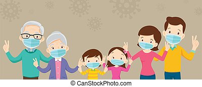 maske, banner, groß, kopie, familie, chirurgisch, tragen, raum, verhindern, covid-19, virus
