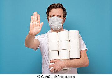 maske, besitz, los, medizin, paper., mann, toilette rollt