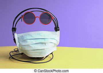 maske, brille, telefone, kopf, aufgewickelt, gesicht, sonne