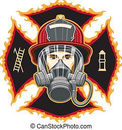 maske, firefighter, kors