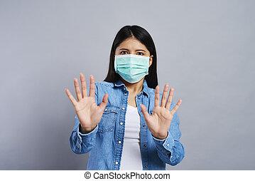 maske, frau, chirurgisch, erschrocken, asiatisch