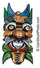 maske, gefärbt, feuerdrachen