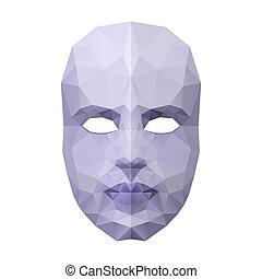 maske, gesicht, polygonal