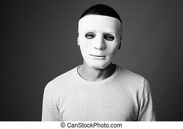 maske, graue , mann, porträt, hintergrund, gegen, junger, weißes