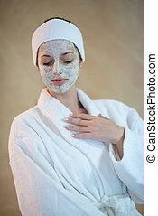 maske, kosmetisch, frau, spa