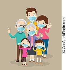 maske, tragen, chirurgisch, groß, familie, virus, verhindern, covid-19