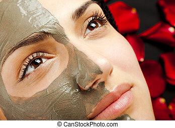 maske, weibliche , gesichtsbehandlung, tonerde