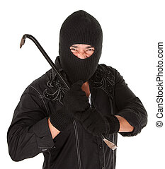 Masked criminal holding a crowbar on white background