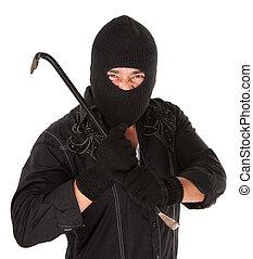 Masked Criminal - Masked criminal holding a crowbar on white...