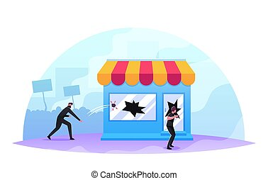 Masked Looters Breaking Store Showcase, Aggressive Masked ...