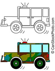 Masked military car with a beacon - a coloring book