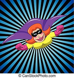 Masked Superhero woman flying