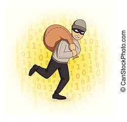 Masked thief with bag on digital stream background. Robber running away. Comic vector illustration.