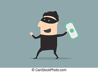 Masked thief with money in cartoon style