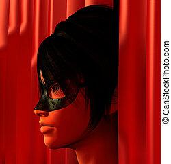 masked woman illustration