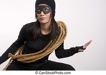 Masked Woman Sneaking Lurking Suspicious Looking Theif Costume