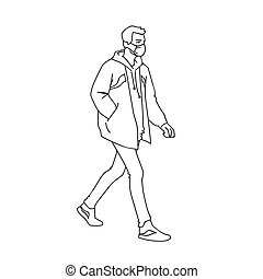 Masked young man taking a walk. Side view. Monochrome vector illustration in simple linear style isolated on white background. Pandemic concept. Man in medical mask jacket, jeans and sneakers walking