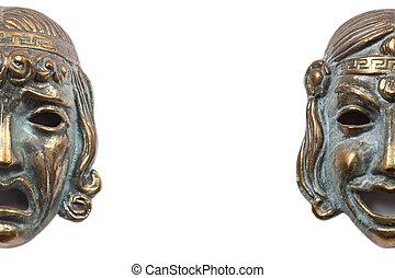 masken, griechischer , komödie, darstellen, tragödie, bronze