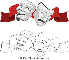 masken, theater, tragödie, komödie