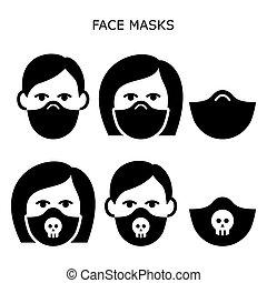 masken, vektor, -, self-distancing, tragen, verunreinigung, frauengesichter, getragen, krankheit, luft, kontaminiert, mann, verhindern, satz, sicherheit, heiligenbilder, virus, während