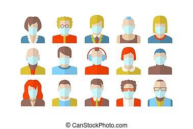 masker, gezicht, mensen, vervelend, karakter, stylized