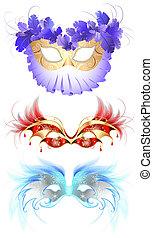 masker, karneval, fjäderrar