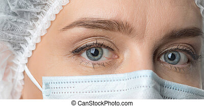 masker, wijd, beschermend, boven., eyes, op, vrouwlijk, arts...