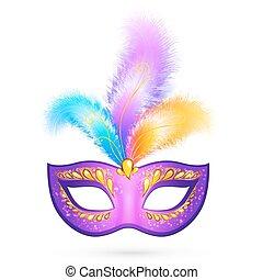 maskera, fjäderrar, karneval, violett