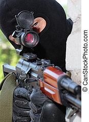 maskera, krypskytt, targeting, omfattning, svart