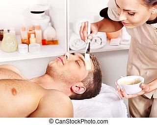 maskera, spa., ansiktsbehandling, skönhet, lera
