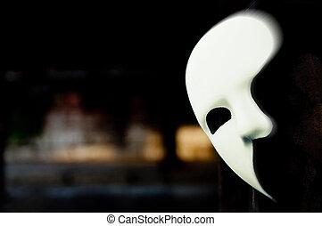 maskerad, -, operans skrämbild, maskera