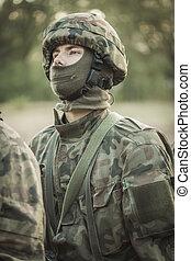 maskerat, soldat, in, militär uniformera