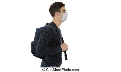 maski, biały, plecak, tło., ochronny, student, pieszy