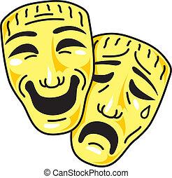 maski, komedia, tragedia, teatr