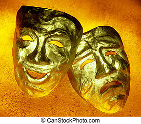 maski, komedia, tragedia