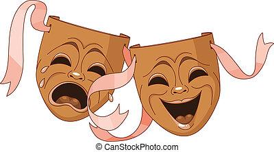 maski, tragedia, komedia