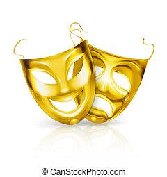 maski, wektor, teatr, złoty