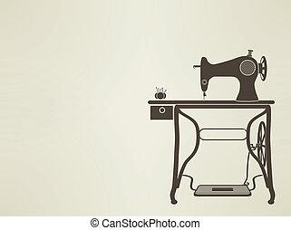 maskin, årgång, sömnad, sillhouette