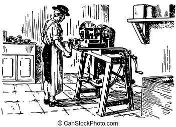 maskin, årgång verktyg