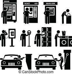 maskin, användande, man, publik, bil