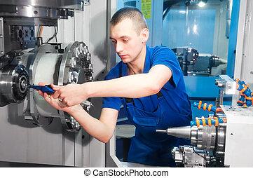 maskin, arbetare, fungerande, cnc, centrera