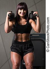 maskin, ben, kvinna, övning